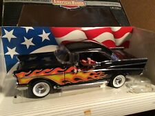 1957 chevy belair hot rod black w/ flames American muscle 1/18 custom side pipes