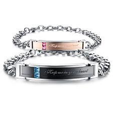 2 Edelstahl Armband Partner Freundschaft Armkette Armreif Schmuck Damen Herren
