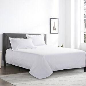 100% Egyptian Cotton Flat Sheets White Bed Sheet Single Double King Super King
