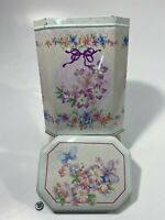"Vintage Floral Flowers + Butterfly 7"" Tin Made England"
