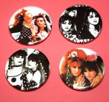 SET OF 4 STRAWBERRY SWITCHBLADE PUNK GOTH GIRL GROUP BAND BUTTON PIN BADGES