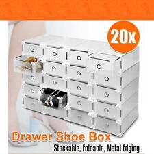20pcs Stackable Foldable Clear Shoe Storage Cases Drawer Boxes Home Wardrobe