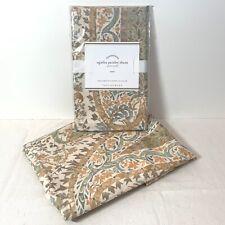 Set of 2 Pottery Barn Agatha Paisley Pastel Euro Pillow Shams NEW $78 Retail