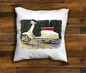 Vintage White Mod Retro Scooter Lambretta Unique Design Cushion Cover Choice ...