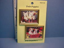 """Framed Picture - Pair  """"Twin Puppies"""" #9620GR  Dollhouse Miniature"""