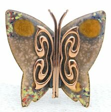 VTG MATISSE RENOIR Signed Yellow Peach Enamel Copper Butterfly Brooch Pin B