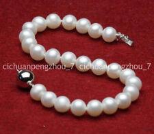 """7-8mm Natural White Freshwater Akoya Pearl Bracelet 7.5"""" C3115"""