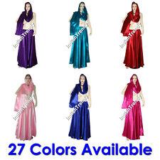 27 Color Satin Skirt + Veil Belly Dance Costume Tribal Dress 4.5 Yard Skirt Hem