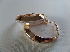 CLASSIC GOLD & SILVER GLITTER HOOP EARRINGS 4CM ACROSS new gift pouch