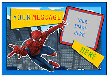 SPIDERMAN SUPERHERO PERSONALISED A4 CAKE TOPPER, ADD PHOTO , EDIBLE ICING SHEET