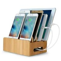 Bamboo Multi-device Organizer Phone & Tablet Stand Holder Charging Station Dock