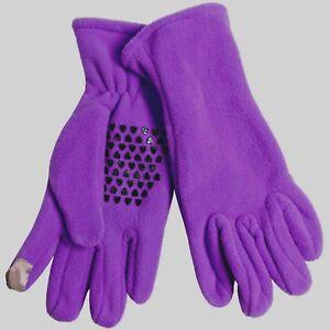 Grand Sierra Women Purple Microfleece Winter Touch Screen Glove Palm Dots M/L