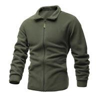 Mens Tactical Sweater Coat Solid Color Warm Jacket Casual Winter Fleece Outwear