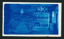 c. 1905 CHRISTMAS DECORATIONS, FRAT HOUSE Vintage CYANOTYPE PHOTO