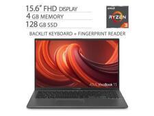 "ASUS VivoBook 15.6"" FHD NanoEdge Laptop, 4GB DDR4 RAM, 128GB M.2 SSD"