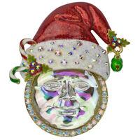 Kirks Folly Seaview Ice Moon Santa Pin Pendant (Goldtone) with KF Gift Box