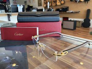 Cartier Decor C Wood Rimless ibiza ct0052o Frame Sunglasses Glasses Coll 21