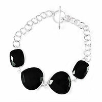 AAA quality Black Onyx gemstone bracelet 925 Solid Sterling Silver 8 inches