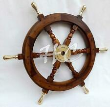 "Maritime Nautical Beach Ship Wheel 18"" Wooden Steering Boat BRASS SPOKE Captains"