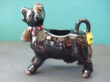 Vintage Porcelain Black Cow With Cow Bell Creamer unmarked