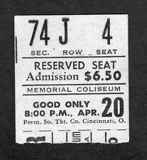 Original 1973 Sonny Cher Concert Ticket Stub Memorial Coliseum