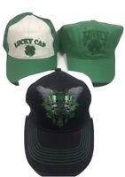 3 Hat Lot LUCKY Irish Shamrock St Patricks Day Clover Green White Baseball Cap