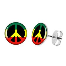 STAINLESS STEEL RASTA PEACE SIGN EARRINGS 10mm Green Yellow Red Round Stud Post