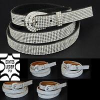 Luxus Damen echtes Leder+PU Jeans Fashion Glitzer Party Gürtel Strass G10