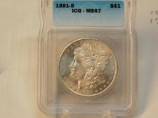 1881 S MORGAN DOLLAR ICG MS67 BEAUTIFUL WHITE COIN