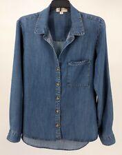 CLOTH & STONE Blue Chambray Pocket Button Long Sleeve Women's Shirt Size M