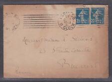 FRANCE 1922 COVER PARIS TO BUCAREST ROMANIA & LETTER #91