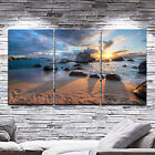 Framed canvas prints seascape print time-lapse wall art sunset beach rock view