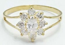 WHITE SAPPHIRE 1 Carat Flower 14k Solid Gold Ring * FREE RE-SIZING & SHIPPING