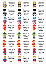 Personalised 48 Marvel Superheros Stickers Labels Party Bag Sweet Cone Thank You