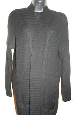 Autumn Cashmere Italian Yarn Women's Grey Open Front Long Cardigan Size S