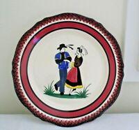 """Henriot QUIMPER Breton Dancers Couple Man Woman Plate 10"""" Vintage French Plate"""