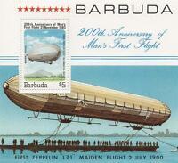 ZEPPELIN 200th ANNIVERSARY OF MAN'S FIRST FLIGHT BARBUDA MNH STAMP SHEETLET