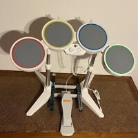 Nintendo Wii Rock Band Wired USB Drum Set with Pedal 2 Pair Sticks 19092 TESTED!