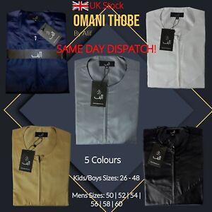 Alif Mens Kid Boys Luxury Omani Dubai Shiny Jubba/Thobe Premium Quality UK Stock