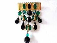 VINTAGE Brooch gold tone metal Black & GREEN beads