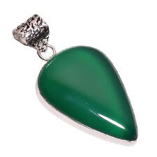 PLATA DE LEY Capa hecho a mano verde Calcedonia Colgante nlg-644 chapado en