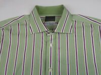 Thomas Dean Mens Long Staple 2 Ply Cotton LS Button Down Green Striped Shirt XL