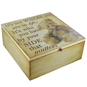 Memory Box Keepsake Teddy Bear Chest Memories Its Not Where But Who Beside You