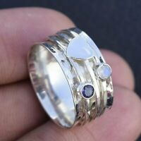 Rainbow Moonstone Solid 925 Sterling Silver Spinner Ring Statement Ring Size r21