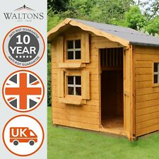 Wooden Children's Outdoor Playhouse 7x5 Wendy House Den Double Storey 7ft 5ft