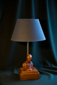 "Handmade desk lamp ""Lord Byron"", a carved rare wood"
