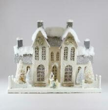 New ListingCody Foster Christmas Village Elegant Ivory Manor House with Deer Trees Wreath