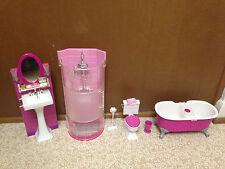 Barbie Doll Glam Bathtub Toilet Sink Vanity Shower Dream House My Home Furniture