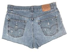 90's Levi's 569 High Waist Distressed Ripped Cut Off Cheeky 36 Denim Jean Shorts