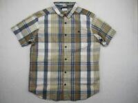 Columbia Mens Large Button Up Shirt Multicolor Plaid Regular Fit Short Sleeve
